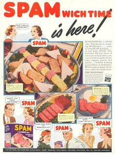 """During the war, meat was rationed. Owing to shortages of meat, processed meats, like Spam, became quite popular. """"News on the Home Front,"""" a novel of the 1940s, by Christopher Geoffrey McPherson."""