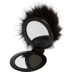 River Island Black pom pom mirror keyring ($14) ❤ liked on Polyvore featuring accessories, black key ring and river island