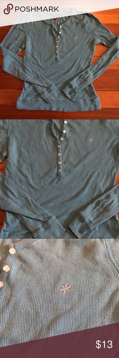 EUC LONG SLEEVE T-SHIRT Only worn a handful of times. This has buttons half way up shirt as shown in photo. It's a pretty aqua blue and is so comfy! You can wear with leggings, jeans and more. I would keep it but I got Brest enhancement surgery and it doe not fit my chest anymore Macy's Tops Tees - Long Sleeve
