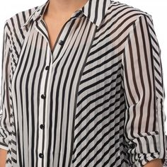 Stripe Tunic Blouse White and black stripe pleated blouse with push up sleeves. Made in Canada. Tunic Blouse, Shirt Blouses, Tunic Tops, Shirts, Sleeves Designs For Dresses, Dress Neck Designs, Tunic Designs, Kurta Designs Women, Clothing Store Displays