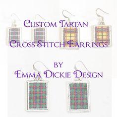 Custom Cross Stitch Tartan Earrings Scottish by EmmaDickieDesign, £20.00
