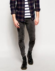 Image 1 of ASOS Extreme Super Skinny Jeans In Heavy Coated Navy