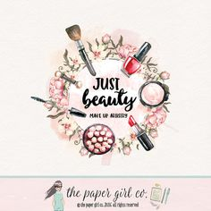 make-up logo beauty logo cosmetics logo makeup by ThePaperGirlCo