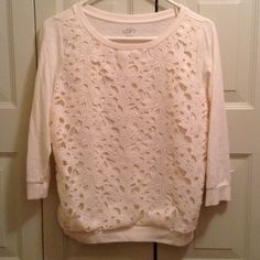 Loft 3/4 length sleeve ivory top with flowers Loft 3/4 length sleeve ivory top with floral front panel. Worn and washed once. LOFT Tops