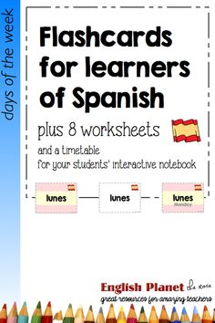 Flashcards and worksheets to teach the days of the week -- #spanish #vocabulary