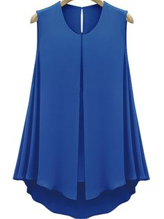 Blue Sleeveless Double Layers Chiffon Blouse US$19.25