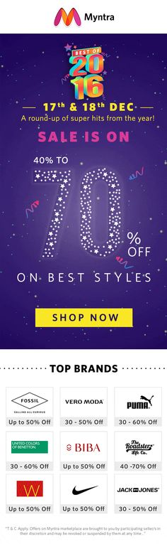 Myntra End of Reason Sale	3rd to 4th January 2018. Myntra Republic Day Sale	25th to 26th Jan 2018. Myntra Valentines Day Sale	14th February 2018. Myntra Holi Sale	2nd March. Myntra Summer Sale	Mid-April 2018. Myntra EORS	2nd to 3rd July 2018. Myntra Independence Day Sale	13th to 15th August 2018. Myntra Big Billion Days Sale	In the first week of October 2018. Myntra Diwali Sale	5th to 9th November 2018. End of Season Sale	After 20th December.