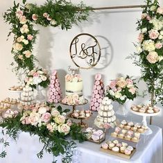Prettiest engagement party styled by the talented Tarts, Doughnut Towers Bridal Shower Desserts, Wedding Desserts, Bridal Shower Decorations, Cocktail Party Decor, Dinner Party Desserts, Engagement Party Decorations, Engagement Party Desserts, Wedding Cake Table Decorations, Engagement Parties