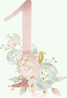 Diy And Crafts, Paper Crafts, Letters And Numbers, Watercolor Flowers, First Birthdays, Iphone Wallpaper, Decoupage, Wedding Invitations, Clip Art