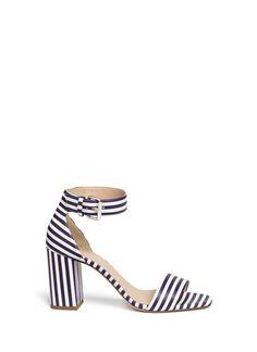 J.Crew | White Striped Strappy High-heel Sandals | Lyst