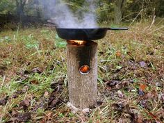 One Log Rocket Stove With Pan, Oh I've got to make one of these for events.....too cool.