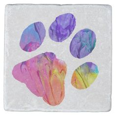 Paw Print - Gifts for Dog Lovers Stone Coaster - diy cyo personalize design idea new special custom