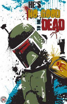 Star Wars art by Randy Gentile -- [Boba Fett, He's No Good to me Dead]