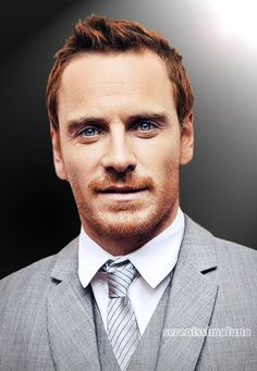Michael Fassbender red hair blue eyes. Handsome & Cool. Love him as Magneto