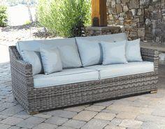Outdoor Wicker Patio Sofa Portafino Greystone Via Wickerparadise