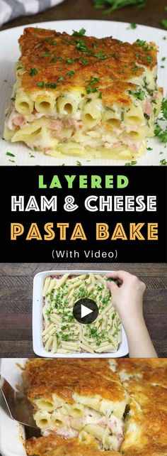Layered Ham And Cheese Penne Bake – creamy and cheesy layered penne pasta, ham and Swiss cheese baked in the heavy cream and eggs mix. Perfect dinner for a hungry crowd! Quick and easy dinner recipe. Video recipe. | Tipbuzz.com