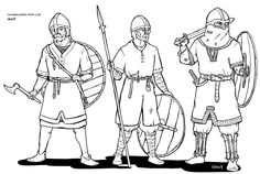 Viking, Norman warriors, difference in equipment, ussing spear, axe and shield.