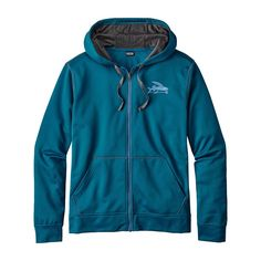 M's Small Flying Fish PolyCycle® Full Zip Hoody, Big Sur Blue (BSRB)