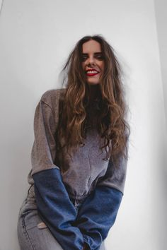 A grey sweater with jeans sleeves. A minimalist, comfortable, warm and oversized shirt. All our products are made with care and love in Montreal. Grey Jeans, Oversized Shirt, Grey Sweater, Montreal, Warm, Sleeves, Sweaters, Tops, Products