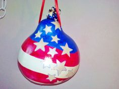 Stars & Stripes USA Flag Lg Gourd Patriotic Decorative Handmade Hand Painted July 4th Military Veterans Memorial Day Home Garden Decor...great gourd inspiration!