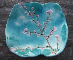 Keramikschale Cherry blossom Türkis rosa weiß Sakura MADE TO