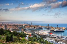 View from Montjuic hill over city of Barcelona at sunset in Catalonia, Spain. #barcelona #city #cityscape #spain #catalonia #catalunya #montjuic #montjuichill #cityscape #citybreak #europe #mediterranean #sea #europetrip #traveleurope #travel #urban #urbanart #fineart #print #artprint #urbanlandscape #metropolis #fineartprints