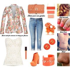 """""""I Dream In Coral"""" by hauteblooded on Polyvore. In this look I included a floral Stella McCartney blazer, cropped Hudson jeans, a Vila Femme tank top, Charlotte Russe studded booties, a Versace studded handbag, vintage Chanel earrings, a Trina Turk necklace, a Kenneth Jay Lane ring, a See By Chloe bracelet, Tom Ford lip gloss, a braided updo with wildflowers, an ombre mani, a love wrist tattoo, and a heart nose ring."""