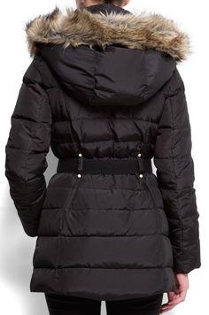 Brązowa puchowa kurtka płaszcz Mango 36 futro