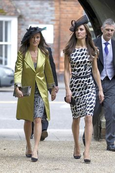 Kate Middleton Print Dress Kate looks slim and sophisticated in a black and white print cocktail dress for the Sam Waley-Cohen wedding. Pipp...