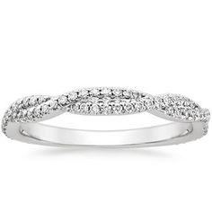 18K White Gold Petite Luxe Twisted Vine Diamond Ring (1/4 ct. tw.), top view