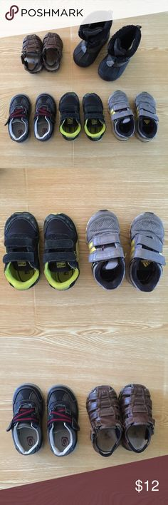 Lot of 5 boys' toddler shoes (sizes 6, 6.5, 7) Size 6 ChildrensPlace black/gray/red sneaker. Very good condition, worn only a handful of times. Bottom tread is in great condition. (This was one of our favorite sneakers and we got multiple in different sizes!) // Size 6 Buster Brown brown sandal. Good condition, lots of tread left. // Size 6 Puma black and yellow tennis shoe. OK condition. // Size 6.5 Adidas gray and yellow tennis shoe. OK condition. // Size 7 Thermolite boot with zipper…