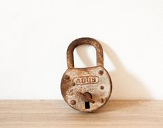 Antique french lock ABUS  Rusty padlock  par FrenchBaguette sur Etsy