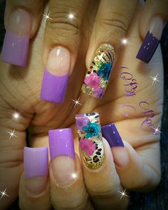 Encapsulated nails with flowers created by Rocio @ Angel Nail Spa ! Angel Nails, Encapsulated Nails, Latest Nail Art, Sexy Nails, Acrylic Nail Art, Types Of Nails, Purple Nails, Nail Spa, Easy Nail Art