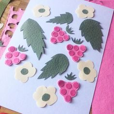 Raspberry paper collage illustration @harakrankkila
