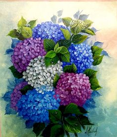 Hydrangea Painting, Easy Flower Painting, Flower Art Drawing, Acrylic Painting Flowers, Fabric Painting, Watercolor Paintings, Colorful Flowers, Beautiful Flowers, Lotus Flower Pictures