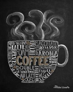 Muestra de arte café cocina café pizarra tiza arte por TheWhiteLime