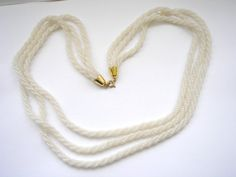 Vintage glass sead bead white multi stand necklace by badgestuff, $8.00