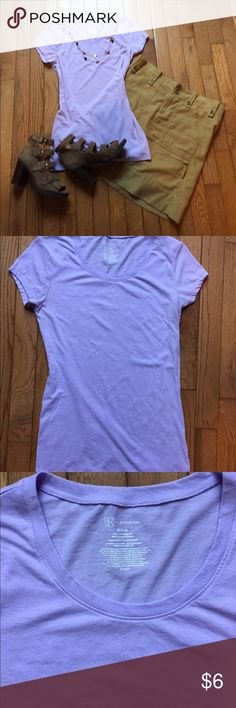 Pretty Lavender Basic Tee Only worn a few times. Minor pilling from washing. Pretty lavender color. Looks great with denim or khaki. Length is 26 inches. Measures 16 inches from pit to pit. Tops Tees - Short Sleeve