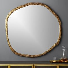 On sale. Shop Abel Round Mirror Rough-hewn aluminum frames oversized round mirror in organic style. Adds natural elegance to the living room or entry. Mounting hardware is included. Oversized Round Mirror, Large Round Mirror, Round Wall Mirror, Mirror Set, Floor Mirror, Black Mirror, Round Mirrors, Wall Mirrors, Mirror Ideas