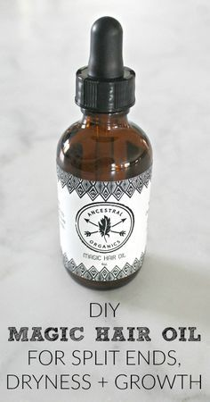 Try this DIY Hair Oil for Split Ends, Dryness + Growth with essential oils to transform your hair into, beautiful, healthy, long locks!