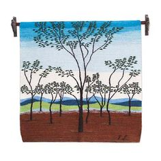 Wool tapestry, 'Autumn in the North' - Andes Handwoven Wool Tapestry of a Landscape