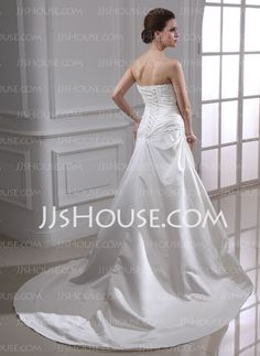 A-Line/Princess Strapless Chapel Train Satin Wedding Dress With Ruffle Lace Beadwork (002000449)