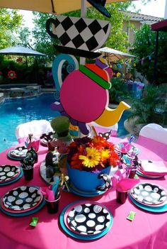 Alice in Wonderland / Mad Hatter theme custom decorations and props available to rent from : Wonderland Party Props  ( 661 250-8164 )