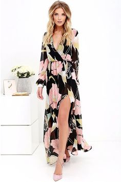 Product Description: (Free Shipping) New Women's Casual Boho Style Black High Waist Vintage Loose Maxi Long Dress With V Neck & 3/4 Sleeve by PesciModa Material: Polyester, Style: Bohemian, Silhouette