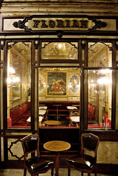 A must visit! Cafe Florian, Venice Italy. The city's oldest cafe...1645. It is as much a museum as a great spot to sip a cup of coffee, listen to live music well into the night and enjoy the Mark's Square...Loved it!  But we had Bellinis instead of coffee!