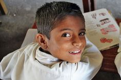 Student at Annapurna Primary School in Pokhara, Nepal takes a break from learning English