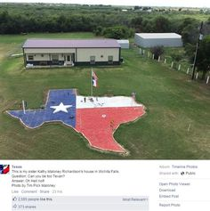 """A homeowner in North Texas proved there's no such thing as being """"too Texan,"""" when she constructed a giant patio in the shape of the Lone Star State in her yard."""
