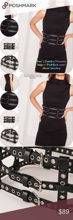 "/Nip/Eyelet Buckle Statement Waist Belt/Blk/Slvr /Encore Appearance! Was able to get another,""Dominatrix Eyelet Buckle Statement Waist Belt,"" I call it a ""Ladder Belt""it features tiered Sets of buckles of silver & vegan leather and it will draw the eye of any interested parties, directly to ur waist! It definitely accentuates the ""positive power"" of a woman's waist!  So get your DOMINATRIX ON & let's get waisted! this dominatrix lookin' belt will have you channelling your inner badass, for…"