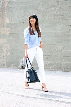 The pinstriped shirt paired with white jeans... www.mytrendyheart.com
