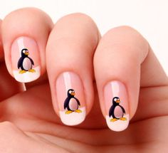 20 Nail ART Decals Transfers Stickers 267 Penguin | eBay